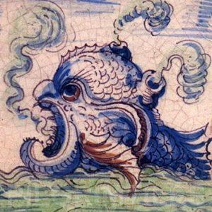 Delft Style Tile Sea monster