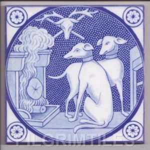 Aesthetic Movement tile  -  Whippet blue