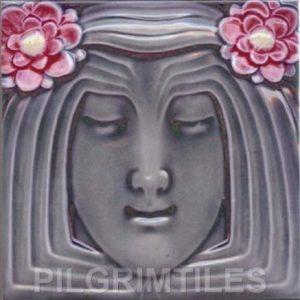 Lady Lilac Art Nouveau Arts and Crafts Tile an125