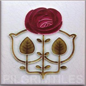 Mackintosh Rose Art Nouveau / Arts & Crafts Tile mac 10
