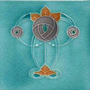 Mackintosh Rose Art Nouveau / Arts & Crafts Tile mac 6