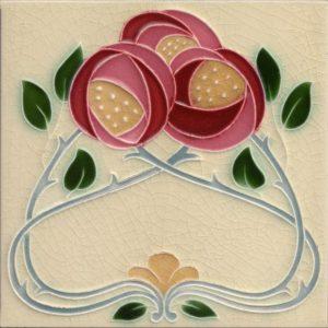 Mackintosh Rose Art Nouveau / Arts & Crafts Tile mac 8