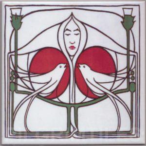 Mackintosh Rose Lady  Birds Art Nouveau / Arts & Crafts Tile