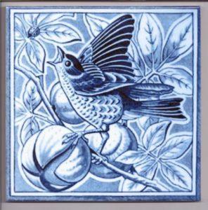 Minton Style Bird Ceramic Tile in Blue