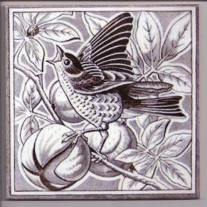 Minton Style Bird Ceramic Tile in Grey