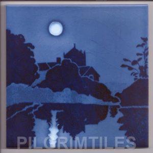 Blue Moonlight Art Nouveau / Arts and Crafts Tile