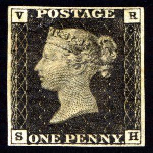 Penny Black postage stamp design tile