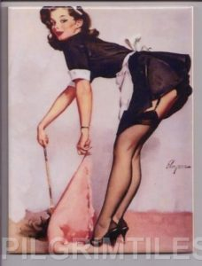 Pin Up Style decorative  Tile  Maid