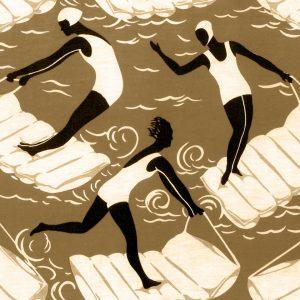Swimming Pool Art Deco Tile Bronze