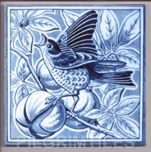 Victorian Style Bird Blue 08