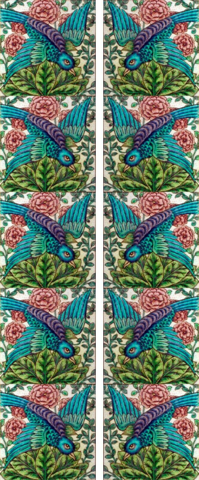 William de Morgan Diving Bird Fireplace Tile Set