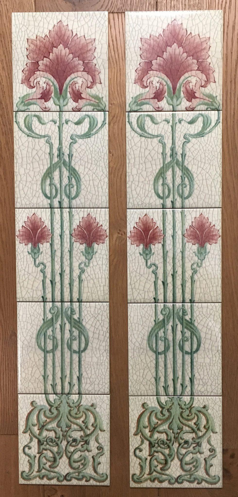 Art Nouveau Fireplace Tiles Set ref an 142 set