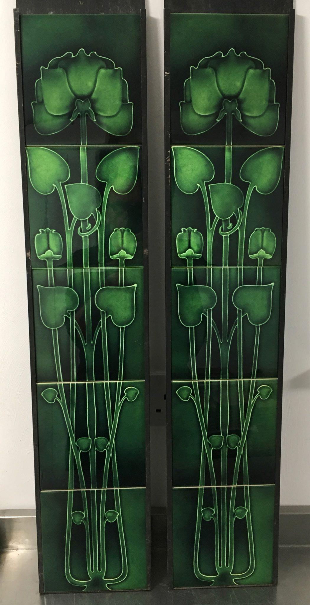 Gas or Decorative Green Art Nouveau Fireplace Tiles Set ref 144 set