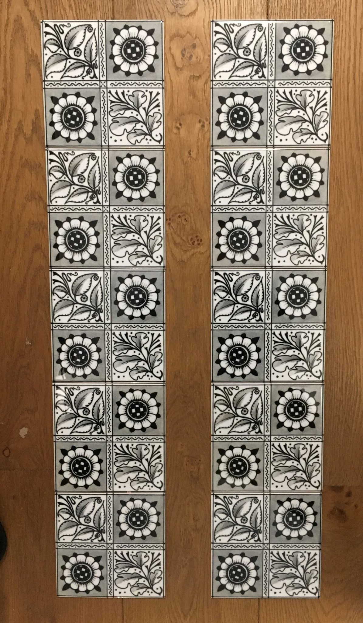 William Morris Longden Grey Arts & Crafts Fireplace Tile Set