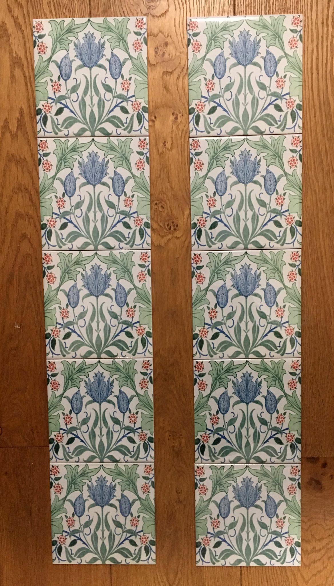 William Morris Tulip 2 Fireplace Tile Set