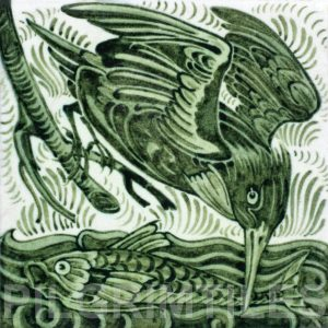 William De Morgan Kingfisher Tile green
