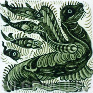 William De Morgan Sea Lion and Fish Tile