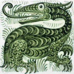 William De Morgan Long Tongued Beast Tile