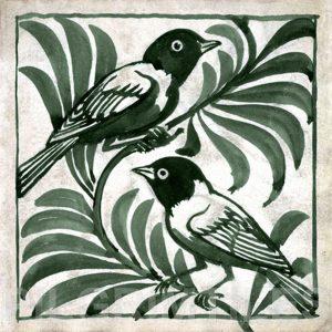 William De Morgan Weaver Birds Tile Green