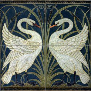 Walter Crane Swans Ceramic or Porcelain 4 Tile Mural Backsplash Kitchen Bathroom